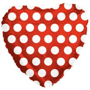 Сердце в горошек (красный, голубой, фуксия, розовый)