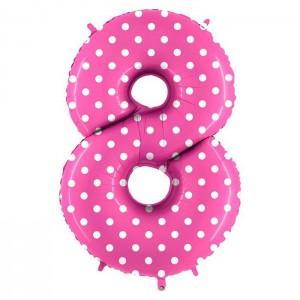 Цифры розовые в горошек