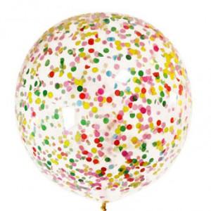Шар 91 см с разноцветным конфетти