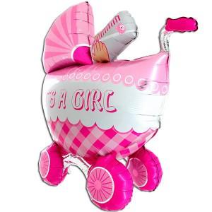 Коляска 3D розовая