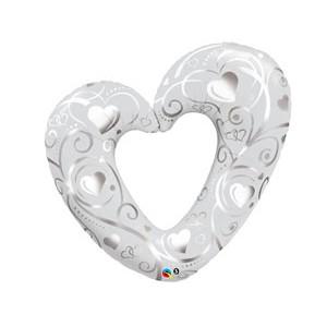 """Фольгированный шар """"Сердце вензель Silver/White"""""""